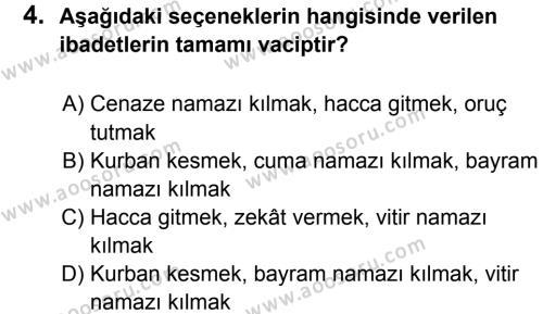 Din Kültürü ve Ahlak Bilgisi 5 Dersi 2012 - 2013 Yılı 3. Dönem Sınavı 4. Soru