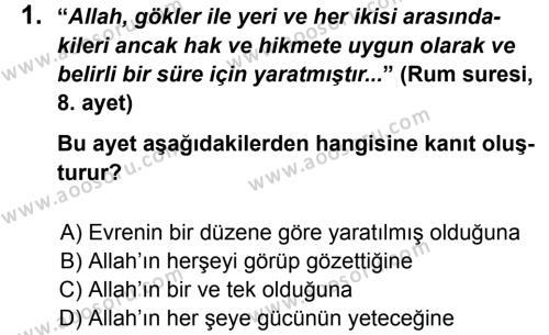 Din Kültürü ve Ahlak Bilgisi 5 Dersi 2013 - 2014 Yılı 1. Dönem Sınavı 1. Soru
