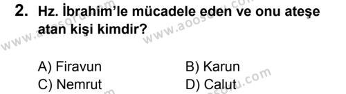 Din Kültürü ve Ahlak Bilgisi 5 Dersi 2013 - 2014 Yılı 2. Dönem Sınavı 2. Soru