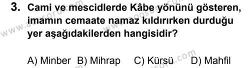 Din Kültürü ve Ahlak Bilgisi 5 Dersi 2013 - 2014 Yılı 2. Dönem Sınavı 3. Soru