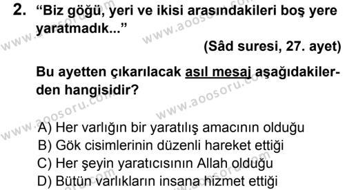 Din Kültürü ve Ahlak Bilgisi 5 Dersi 2013 - 2014 Yılı 3. Dönem Sınavı 2. Soru