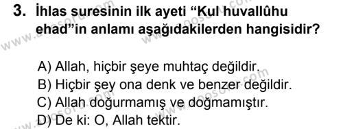 Din Kültürü ve Ahlak Bilgisi 5 Dersi 2013 - 2014 Yılı 3. Dönem Sınavı 3. Soru