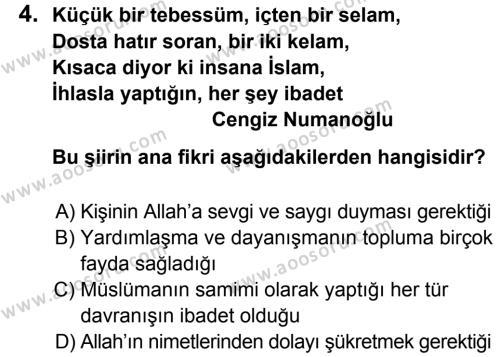 Din Kültürü ve Ahlak Bilgisi 5 Dersi 2013 - 2014 Yılı 3. Dönem Sınavı 4. Soru
