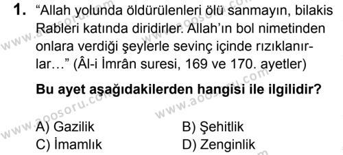 Din Kültürü ve Ahlak Bilgisi 5 Dersi 2014 - 2015 Yılı 3. Dönem Sınavı 1. Soru