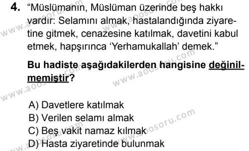 Din Kültürü ve Ahlak Bilgisi 5 Dersi 2014 - 2015 Yılı 3. Dönem Sınavı 4. Soru