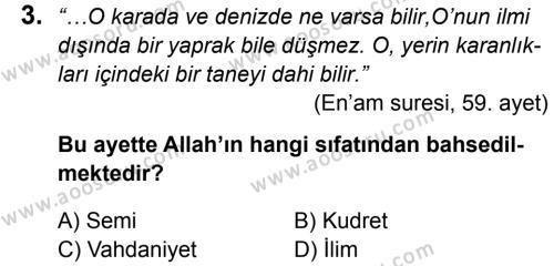 Din Kültürü ve Ahlak Bilgisi 5 Dersi 2015 - 2016 Yılı 1. Dönem Sınavı 3. Soru