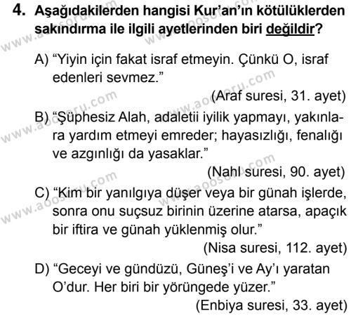 Din Kültürü ve Ahlak Bilgisi 5 Dersi 2016 - 2017 Yılı 3. Dönem Sınavı 4. Soru