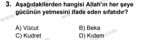 Din Kültürü ve Ahlak Bilgisi 5 Dersi 2017 - 2018 Yılı 1. Dönem Sınavı 3. Soru