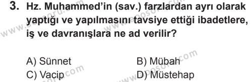 Din Kültürü ve Ahlak Bilgisi 5 Dersi 2017 - 2018 Yılı 2. Dönem Sınavı 3. Soru
