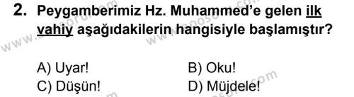 Din Kültürü ve Ahlak Bilgisi 6 Dersi 2011 - 2012 Yılı 3. Dönem Sınavı 2. Soru