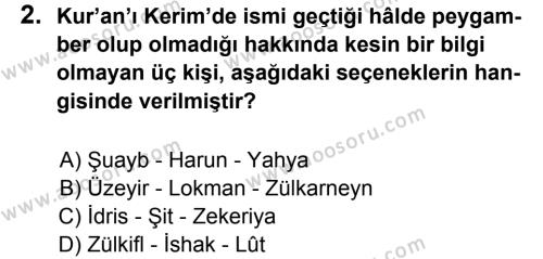 Din Kültürü ve Ahlak Bilgisi 6 Dersi 2012 - 2013 Yılı 1. Dönem Sınavı 2. Soru