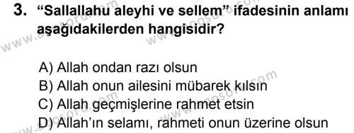 Din Kültürü ve Ahlak Bilgisi 6 Dersi 2012 - 2013 Yılı 1. Dönem Sınavı 3. Soru