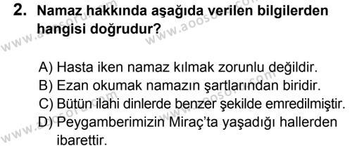 Din Kültürü ve Ahlak Bilgisi 6 Dersi 2012 - 2013 Yılı 2. Dönem Sınavı 2. Soru