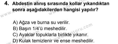 Din Kültürü ve Ahlak Bilgisi 6 Dersi 2012 - 2013 Yılı 2. Dönem Sınavı 4. Soru