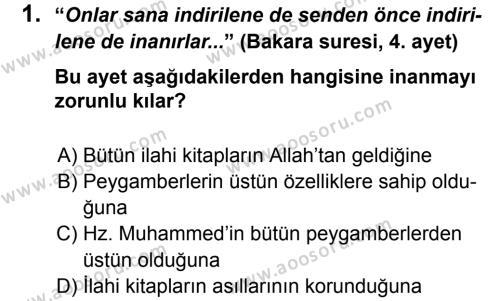 Din Kültürü ve Ahlak Bilgisi 6 Dersi 2012 - 2013 Yılı 3. Dönem Sınavı 1. Soru