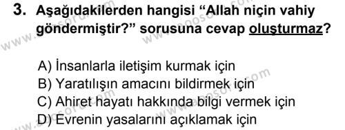 Din Kültürü ve Ahlak Bilgisi 6 Dersi 2012 - 2013 Yılı 3. Dönem Sınavı 3. Soru