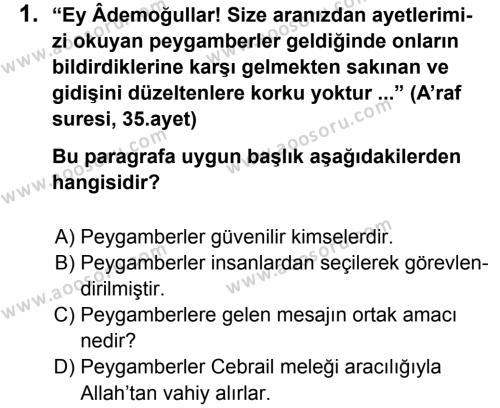 Din Kültürü ve Ahlak Bilgisi 6 Dersi 2013 - 2014 Yılı 1. Dönem Sınavı 1. Soru