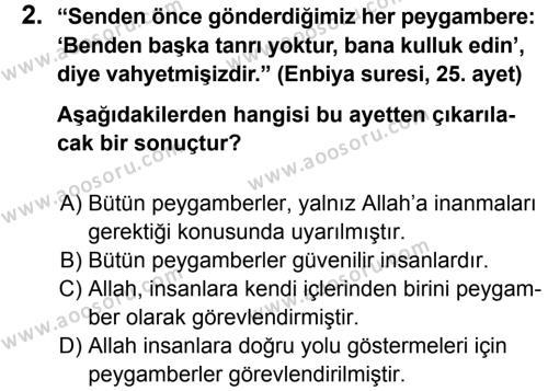 Din Kültürü ve Ahlak Bilgisi 6 Dersi 2013 - 2014 Yılı 1. Dönem Sınavı 2. Soru