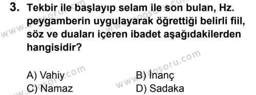 Din Kültürü ve Ahlak Bilgisi 6 Dersi 2013 - 2014 Yılı 1. Dönem Sınavı 3. Soru