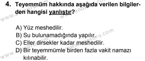 Din Kültürü ve Ahlak Bilgisi 6 Dersi 2013 - 2014 Yılı 1. Dönem Sınavı 4. Soru