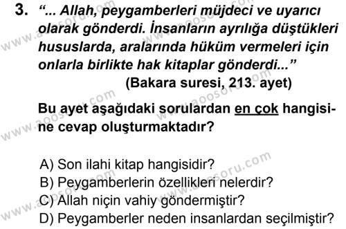 Din Kültürü ve Ahlak Bilgisi 6 Dersi 2013 - 2014 Yılı 2. Dönem Sınavı 3. Soru
