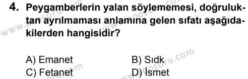 Din Kültürü ve Ahlak Bilgisi 6 Dersi 2013 - 2014 Yılı 2. Dönem Sınavı 4. Soru
