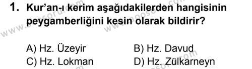Din Kültürü ve Ahlak Bilgisi 6 Dersi 2013 - 2014 Yılı 3. Dönem Sınavı 1. Soru