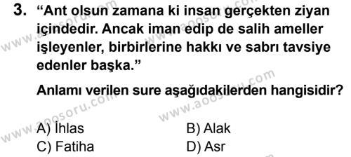 Din Kültürü ve Ahlak Bilgisi 6 Dersi 2013 - 2014 Yılı 3. Dönem Sınavı 3. Soru