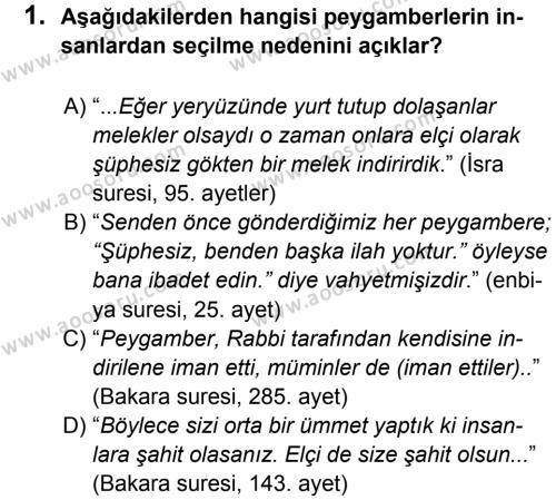 Din Kültürü ve Ahlak Bilgisi 6 Dersi 2014 - 2015 Yılı 1. Dönem Sınavı 1. Soru