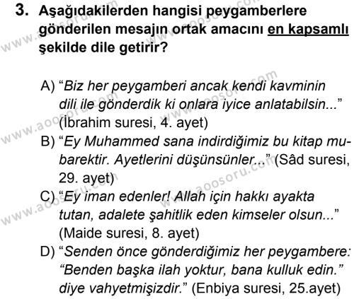 Din Kültürü ve Ahlak Bilgisi 6 Dersi 2014 - 2015 Yılı 1. Dönem Sınavı 3. Soru