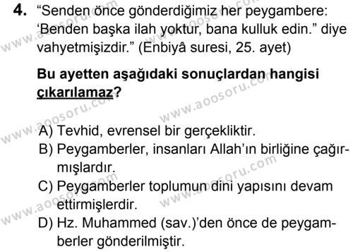 Din Kültürü ve Ahlak Bilgisi 6 Dersi 2014 - 2015 Yılı 3. Dönem Sınavı 4. Soru
