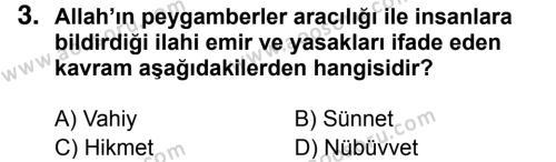 Din Kültürü ve Ahlak Bilgisi 6 Dersi 2018 - 2019 Yılı 3. Dönem Sınavı 3. Soru