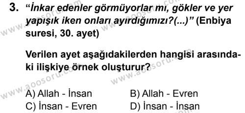 Din Kültürü ve Ahlak Bilgisi 7 Dersi 2011 - 2012 Yılı 3. Dönem Sınavı 3. Soru