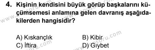 Din Kültürü ve Ahlak Bilgisi 7 Dersi 2011 - 2012 Yılı 3. Dönem Sınavı 4. Soru