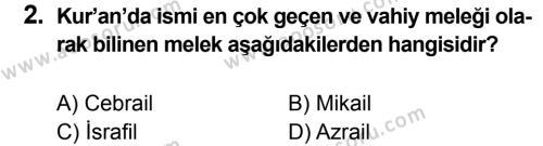 Din Kültürü ve Ahlak Bilgisi 7 Dersi 2012 - 2013 Yılı 1. Dönem Sınavı 2. Soru