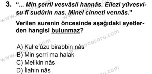 Din Kültürü ve Ahlak Bilgisi 7 Dersi 2012 - 2013 Yılı 2. Dönem Sınavı 3. Soru