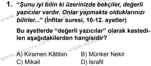 Din Kültürü ve Ahlak Bilgisi 7 Dersi 2012 - 2013 Yılı 3. Dönem Sınavı 1. Soru