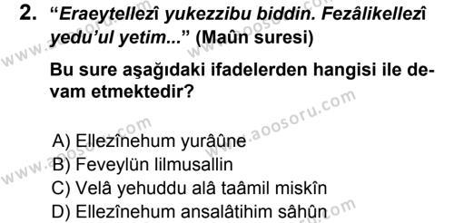 Din Kültürü ve Ahlak Bilgisi 7 Dersi 2012 - 2013 Yılı 3. Dönem Sınavı 2. Soru