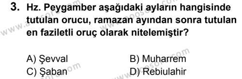 Din Kültürü ve Ahlak Bilgisi 7 Dersi 2012 - 2013 Yılı 3. Dönem Sınavı 3. Soru