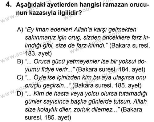 Din Kültürü ve Ahlak Bilgisi 7 Dersi 2012 - 2013 Yılı 3. Dönem Sınavı 4. Soru