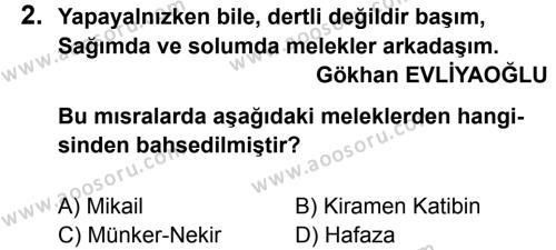 Din Kültürü ve Ahlak Bilgisi 7 Dersi 2013 - 2014 Yılı 2. Dönem Sınavı 2. Soru