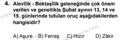 Din Kültürü ve Ahlak Bilgisi 7 Dersi 2013 - 2014 Yılı 2. Dönem Sınavı 4. Soru