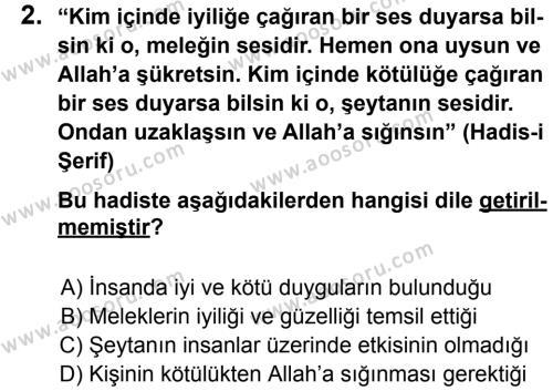 Din Kültürü ve Ahlak Bilgisi 7 Dersi 2014 - 2015 Yılı 1. Dönem Sınavı 2. Soru