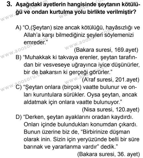 Din Kültürü ve Ahlak Bilgisi 7 Dersi 2015 - 2016 Yılı 2. Dönem Sınavı 3. Soru