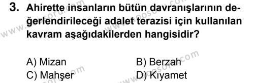 Din Kültürü ve Ahlak Bilgisi 7 Dersi 2016 - 2017 Yılı 1. Dönem Sınavı 3. Soru