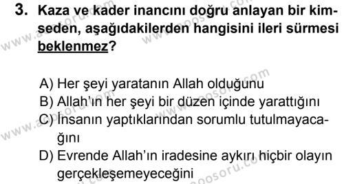 Din Kültürü ve Ahlak Bilgisi 8 Dersi 2011 - 2012 Yılı 2. Dönem Sınavı 3. Soru