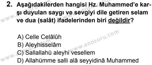 Din Kültürü ve Ahlak Bilgisi 8 Dersi 2012 - 2013 Yılı 1. Dönem Sınavı 2. Soru