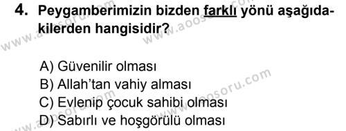 Din Kültürü ve Ahlak Bilgisi 8 Dersi 2012 - 2013 Yılı 1. Dönem Sınavı 4. Soru
