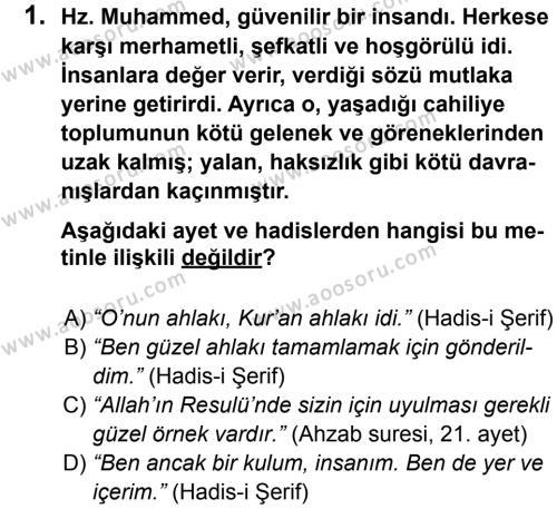 Din Kültürü ve Ahlak Bilgisi 8 Dersi 2012 - 2013 Yılı 2. Dönem Sınavı 1. Soru