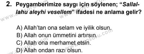 Din Kültürü ve Ahlak Bilgisi 8 Dersi 2012 - 2013 Yılı 2. Dönem Sınavı 2. Soru